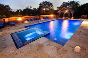 geometric pool with firefeature